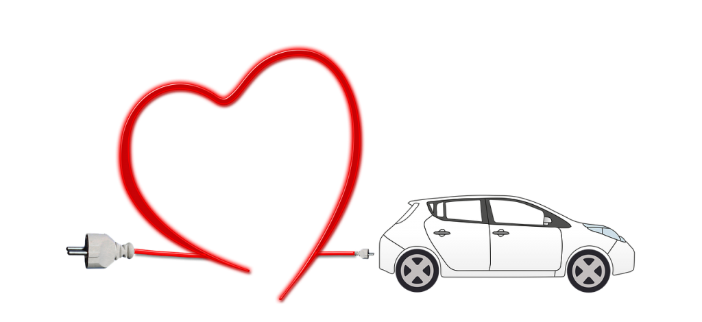 electric car, heart, environment